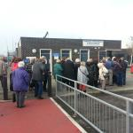 Queue for toilets at Firth of Forth Bridge Observation