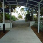Covered walkway from main building to beach one