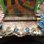 An old type coin machine in the amusement arcade.