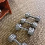 Dumbells get as heavy as 20 lbs, watch out!