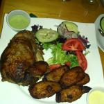 Rotissierie Chicken with Plaintains and Garden Salad