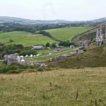 Unusual view of Corfe Castle