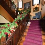 Festive decorated staircase