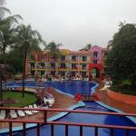 View from the room - rainy day 1, no one at the pool