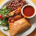 Pork tamales with red beans and red chili