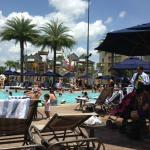 Pool area, crowded