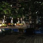 a section of the pool area by night