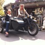 Posing on the bike at the Antiques market. NB we didn't drive ourselves!