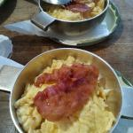 Yummy warm scrambled eggs with bacon (Made to order)