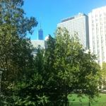 View from our room looking over Columbus Park and toward 1 WTC