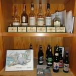 A selection of the whiskies and beers available from the bar.