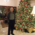 My husband in the newly decorated lobby near the welcoming fireplace.