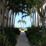 View from walkway to pool and beach a