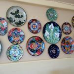 Restaurant wall ceramic plate collection
