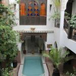 The Riad Courtyard with the window of our room