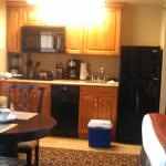 Looking at the kitchen area