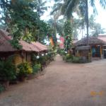 bamboo cottages in row