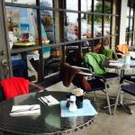 """Outdoor dining with fleece blankets provided for those patrons who are really """"cool""""!"""