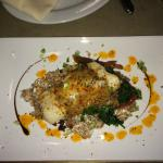 Roasted New England Cod  with Creamy Farro, Spinach & Scallions