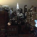 View of the Chrysler building at night from suite