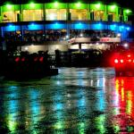 Front view on a rainy evening