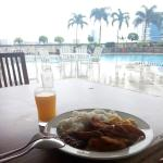 Breakfast by the Pool, with the beautiful view of Miri