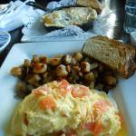 three cheese omelette and breakfast skillet