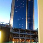 View of hotel at sunset from the pool area.
