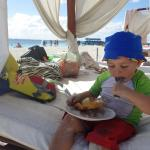 eating ice cream on the sun beds