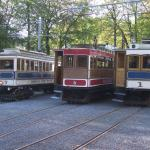 Trams 7, 6 and 1 at Laxey station