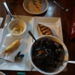 Our delicious lunch of mussels and bangers.