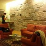 the main area if our room - the stone wall is the tower
