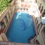 View of the pool from upstairs terrace