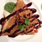 Great presentation of delicious crepes.