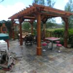 Outside patio with hottub
