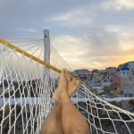 Sunset view of hammock on a rainy/cloudy day.  Notice you don't have direct sunset from Aspaki,