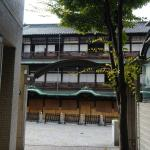 hotel front door is right opposite to Dogo hot spring
