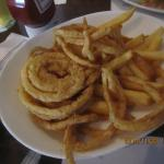 Half fries and half onion rings.