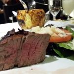 Filet mignon, salad and pineapple