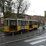 A charmingly ancient tram waiting at the route 1 terminus