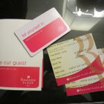 room card key with breakfast coupons