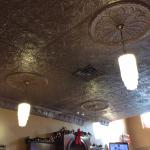The beautiful antique ceiling in Alongi's