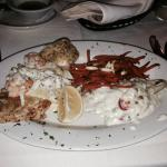 Red snapper with crabmeat and shrimp.