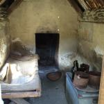 Inside one of the huts