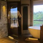 large bathroom with beautiful tub and view