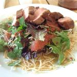 duck salad with citrus, star anise and fried noodles