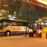 Buses constantly in front of hotel dropping off & picking up