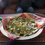 Coca leaves at the reception area