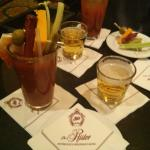Bloody Mary with a beer chaser (it's a awesome Wisconsin thing) in the hotel lobby bar. Very goo