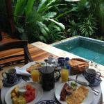 Breakfast by the mineral water plunge pool...every day